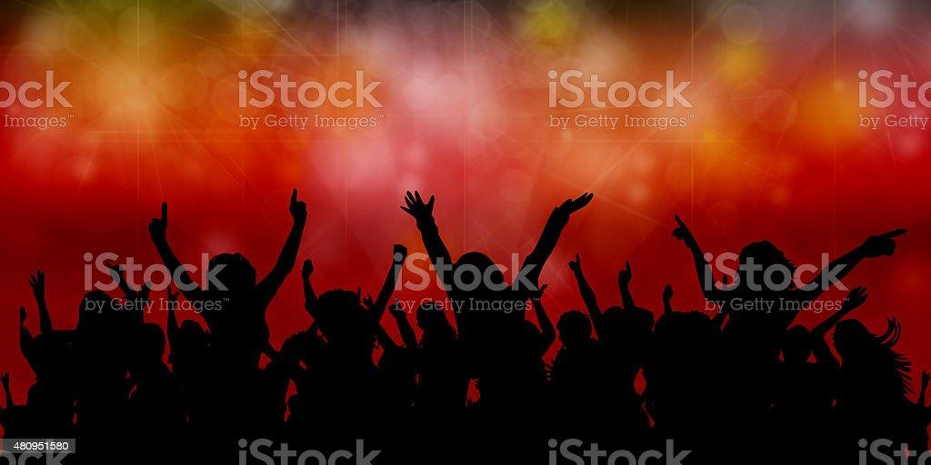 Concert Crowd vector art illustration