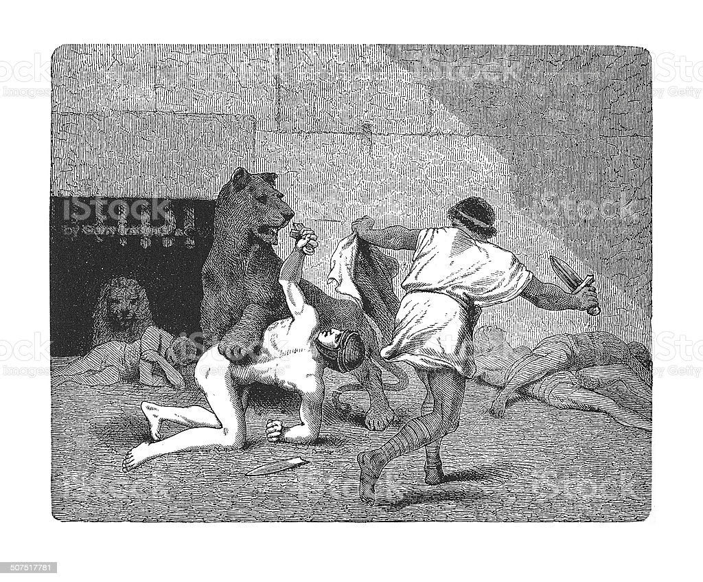 Condemned to fight with wild beasts (antique engraving) vector art illustration