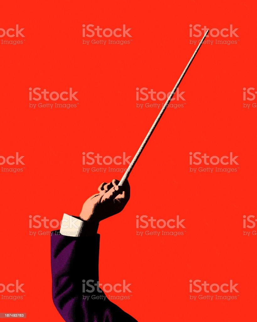 Conductor Holding Baton royalty-free stock vector art