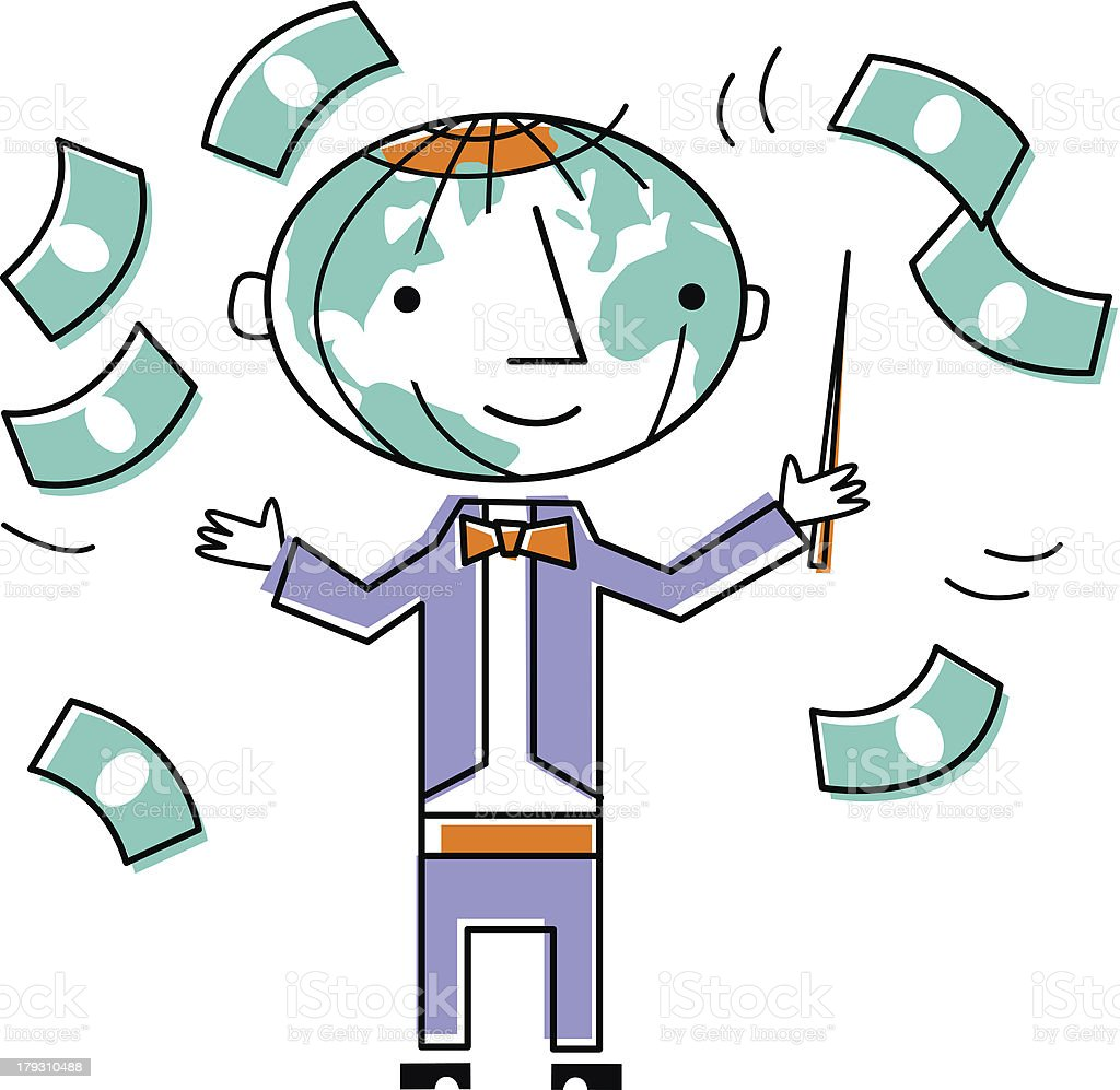 Conductor with dollar bills royalty-free stock vector art