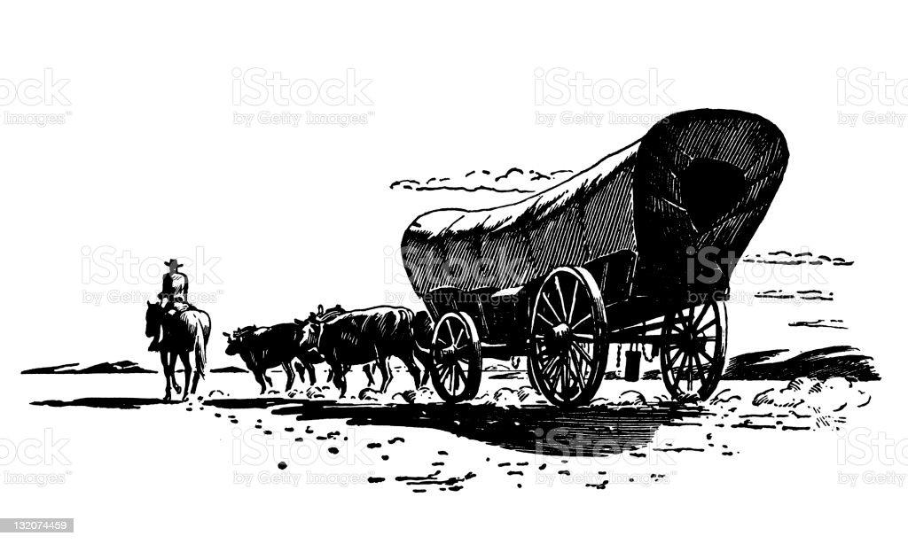 conestoga Wagon vector art illustration