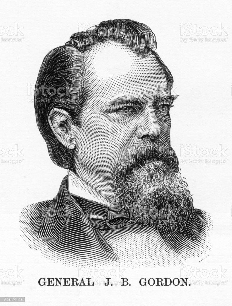 Confederate General J. B. Gordon Civil War Engraving, Circa 1865 vector art illustration