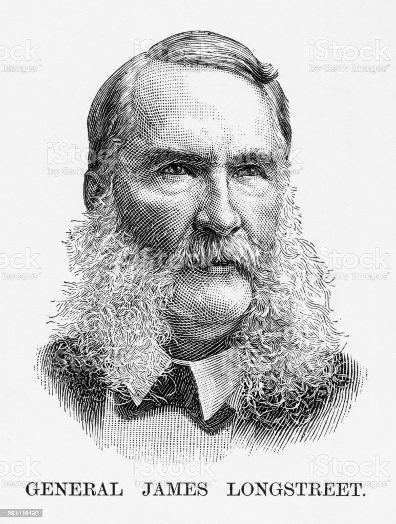 Confederate General James Longstreet Civil War Engraving, Circa 1865 vector art illustration