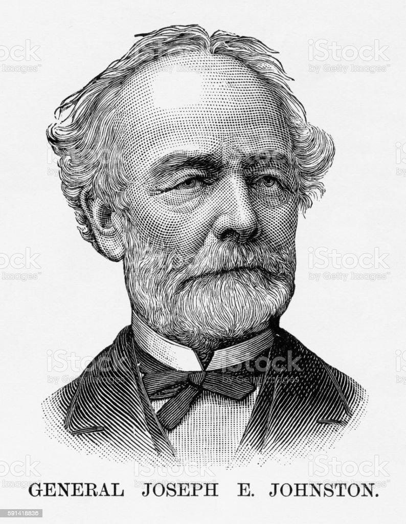 Confederate General Joseph E. Johnston Civil War Engraving, Circa 1865 vector art illustration