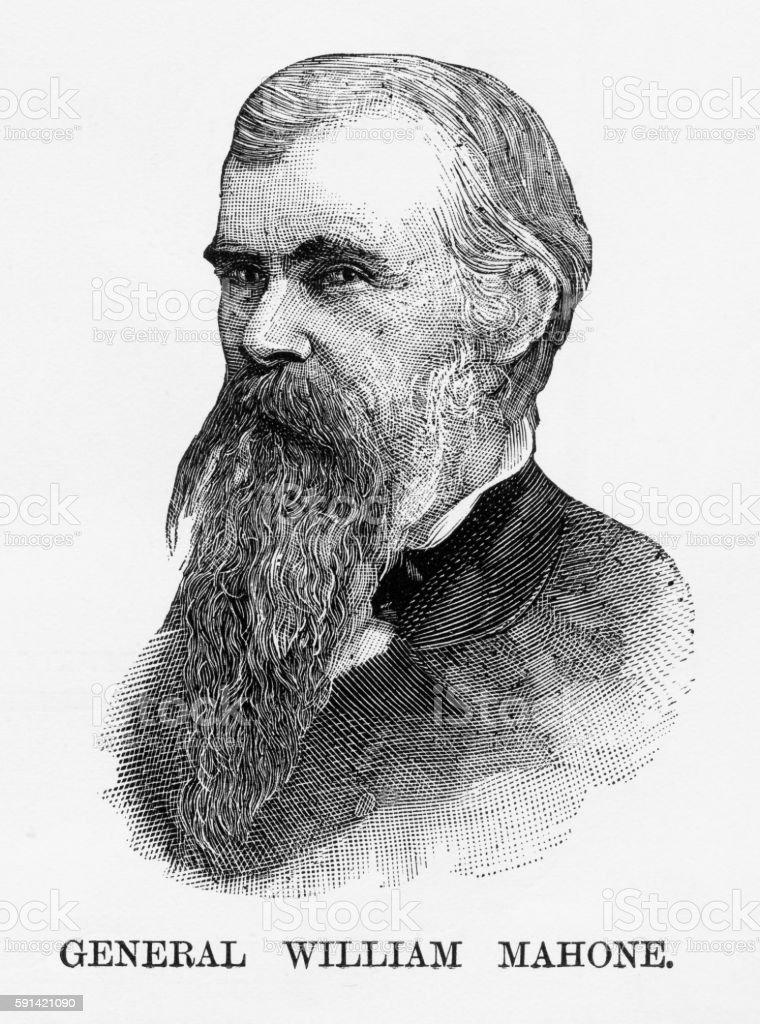 Confederate General William Mahone Civil War Engraving, Circa 1865 vector art illustration
