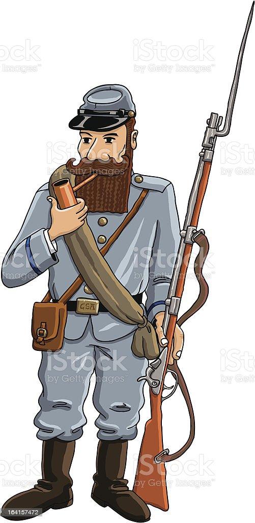 confederate soldier vector art illustration