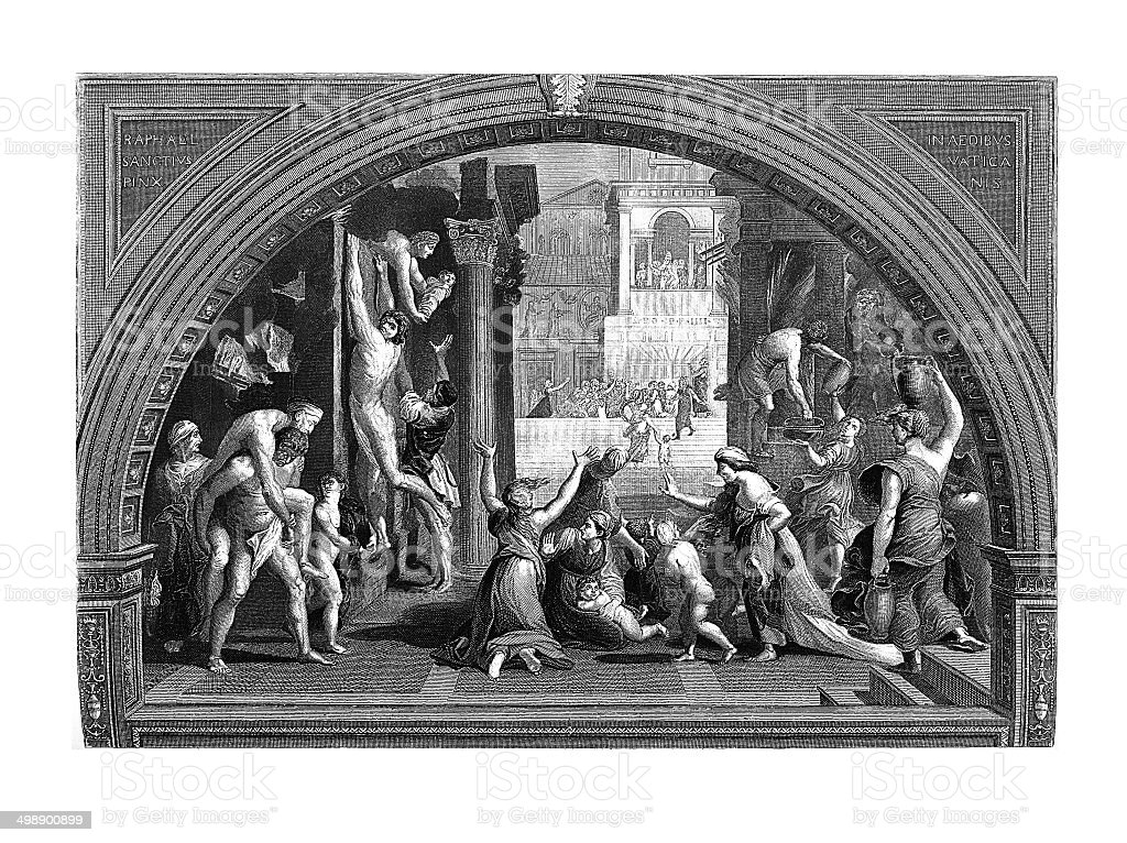 Conflagration Rome, (antique engraving after Raphael's fresco) vector art illustration