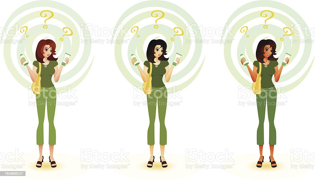Confused Consumer - Eco-friendly Products royalty-free stock vector art