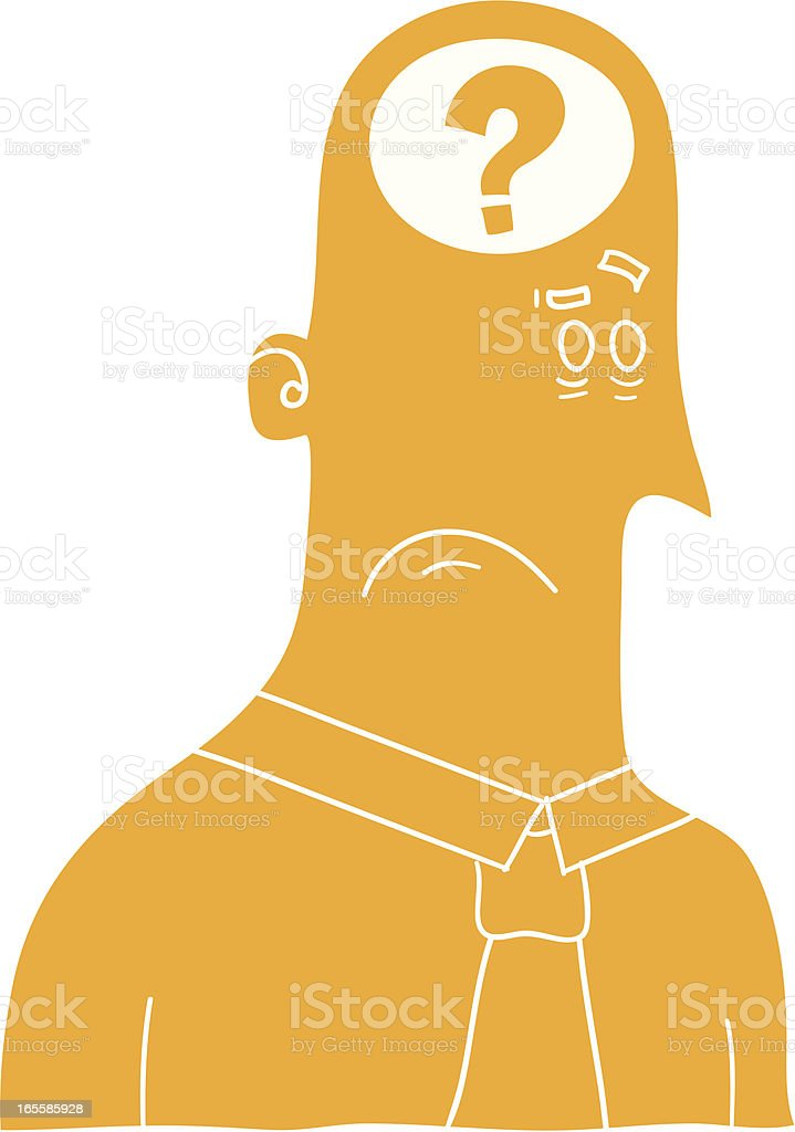 Confused man vector art illustration