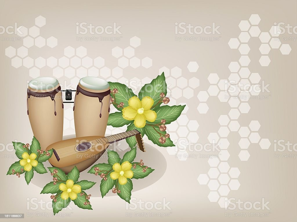 Congas and Lute with Simpor Flowers on Brown Background vector art illustration