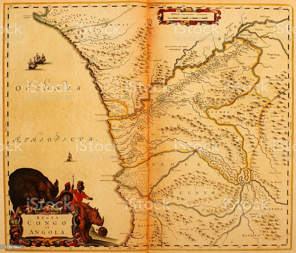 Congo and Angola 1635 | Antique Map Collection royalty-free stock vector art