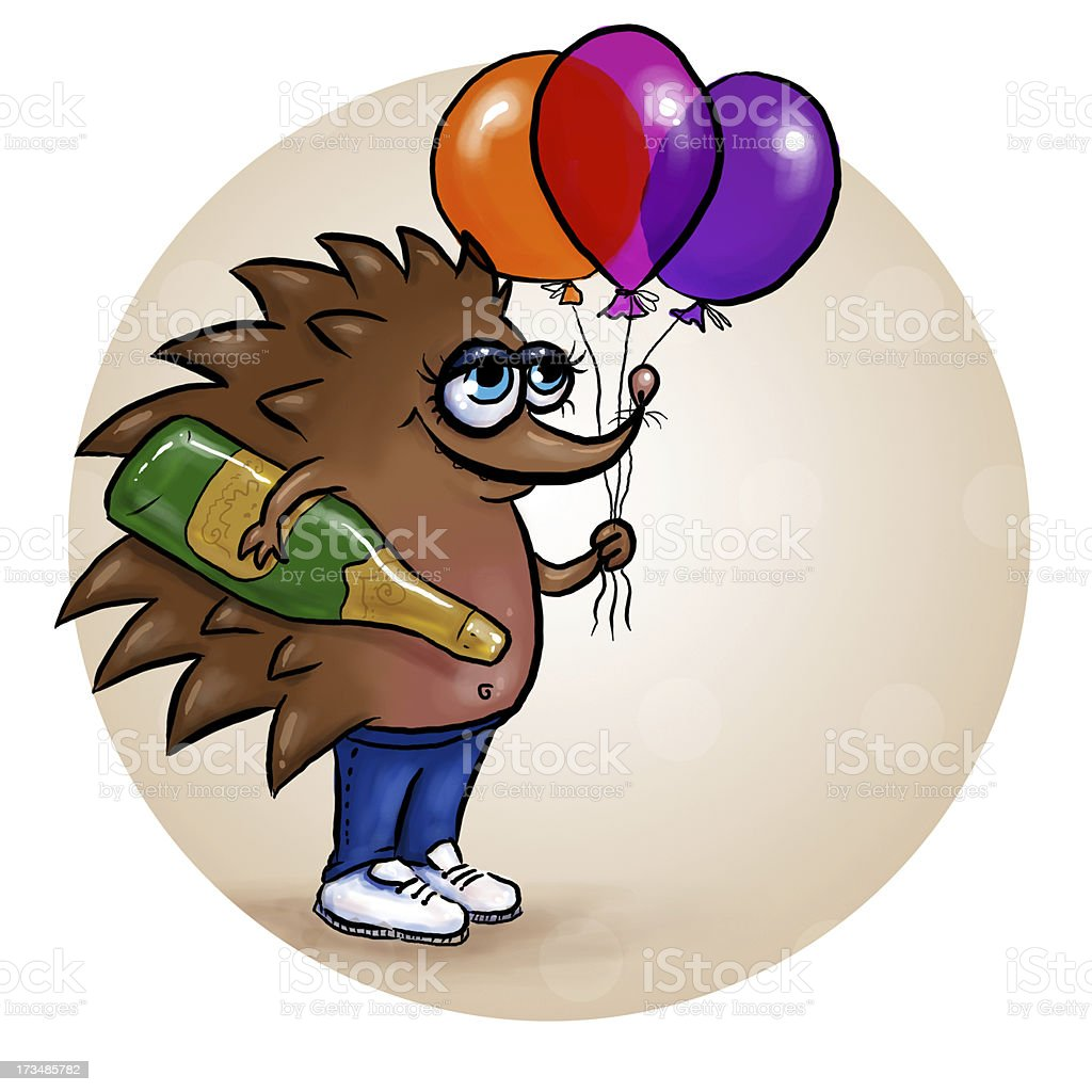 Congratulating hedgehog royalty-free stock vector art