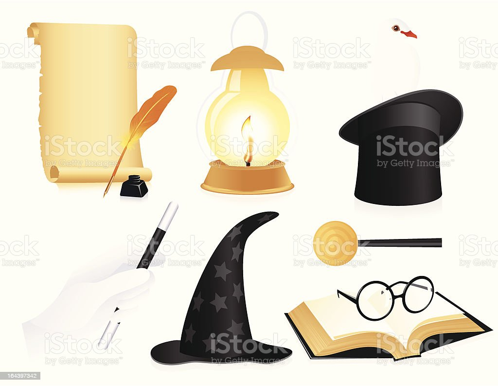 Conjurer icon set royalty-free stock vector art