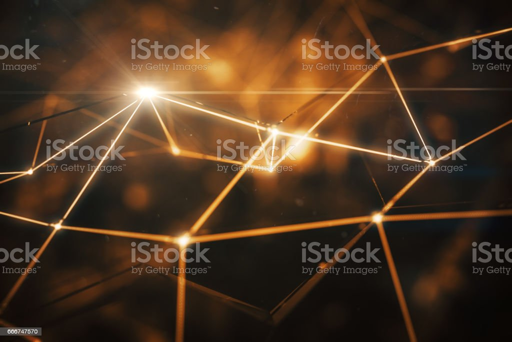 Connected amber points closeup vector art illustration