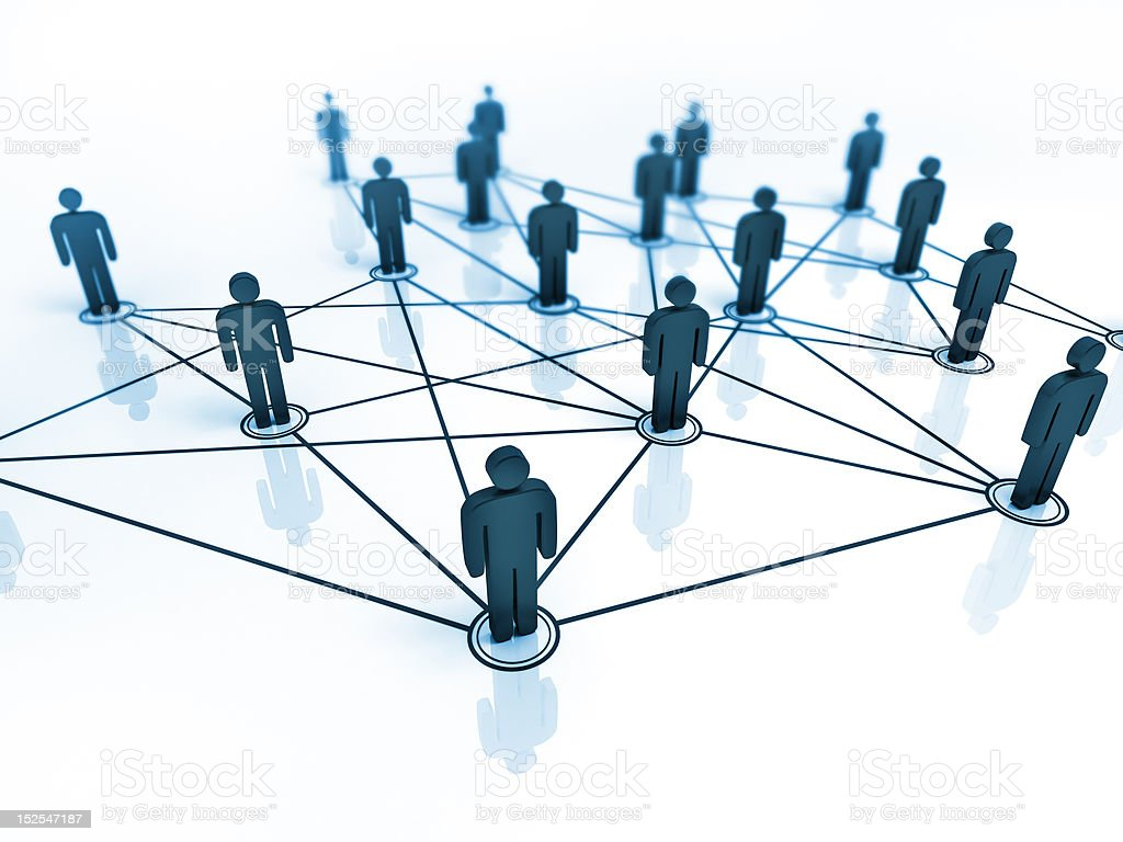 connected people vector art illustration