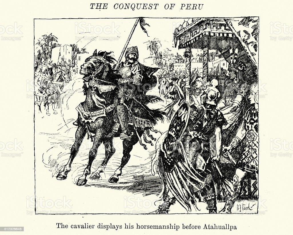 Conquest of Peru - Conquistador before Atahuallpa vector art illustration