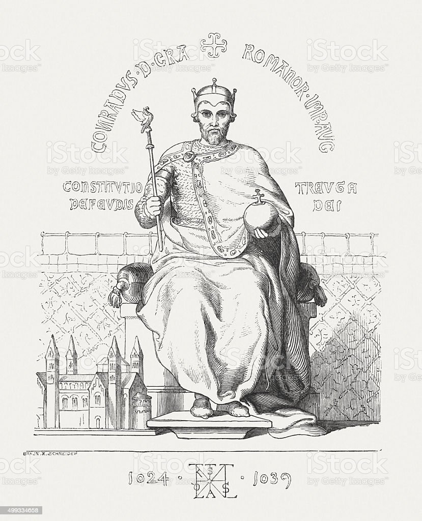 Conrad II (c. 990-1039), Holy Roman Emperor, published in 1876 vector art illustration