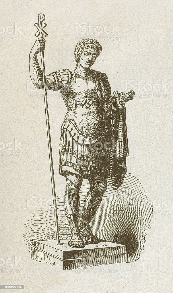 Constantine the Great (272/285-337), Roman emperor, wood engraving, published 877 royalty-free stock vector art