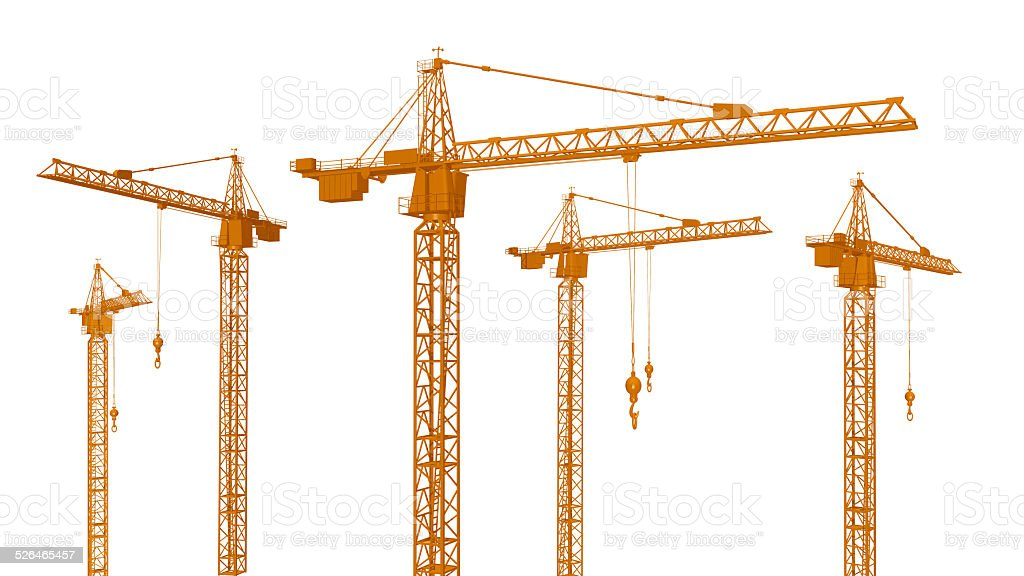 Construction Cranes vector art illustration