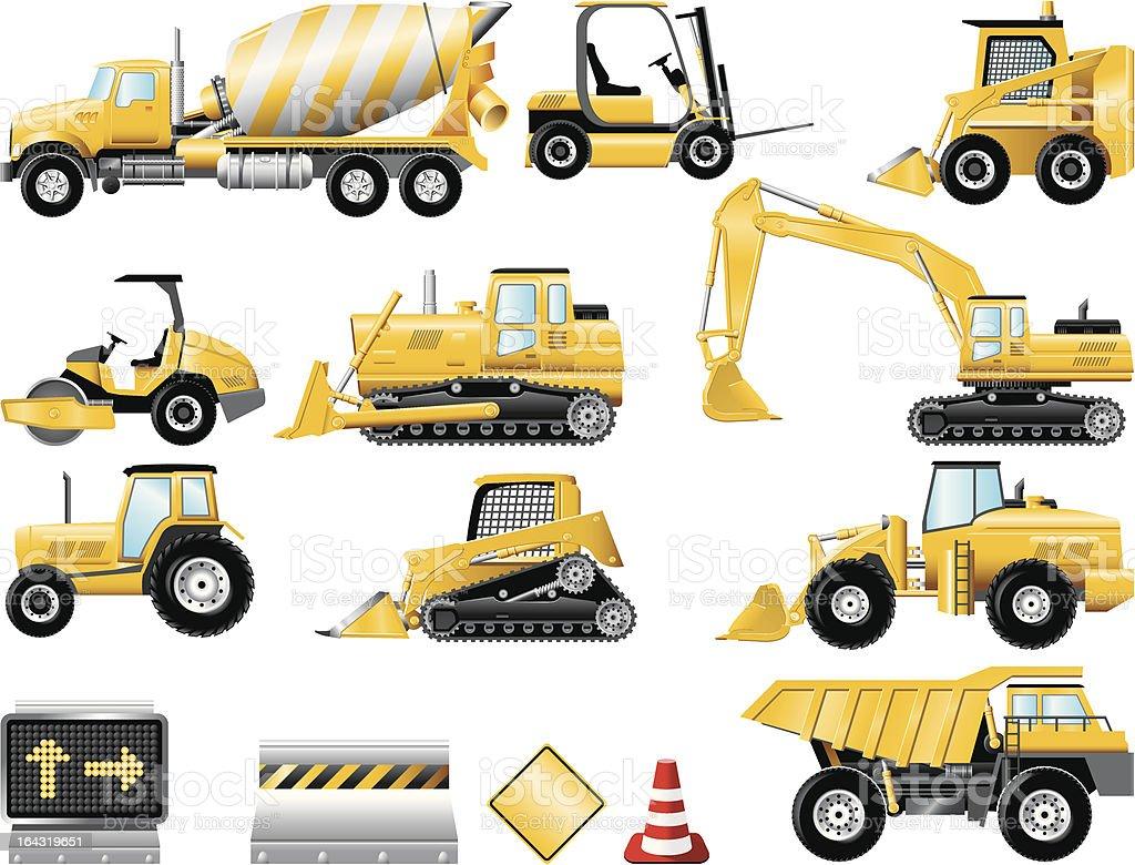 Construction icon set vector art illustration