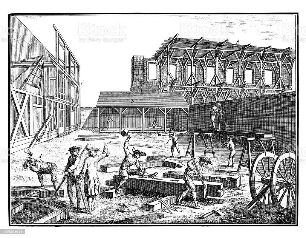 Construction Industry: Builders make a construction (18th century engraving) stock photo
