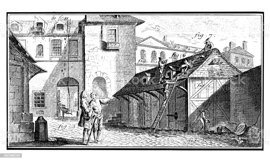 Construction Industry: Roof repairing (18th century engraving) vector art illustration