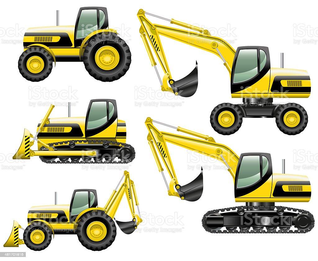 Construction machines vector art illustration