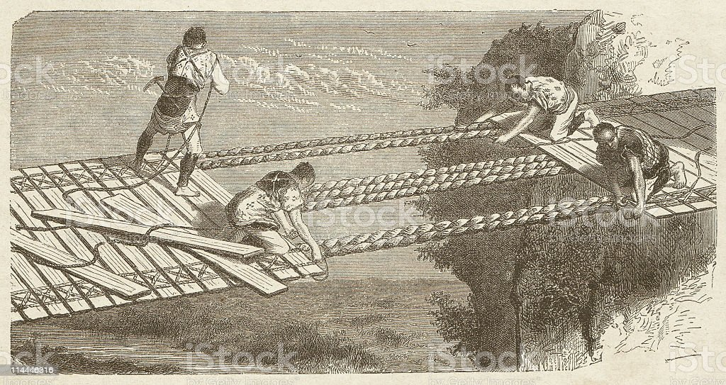 Construction of a suspension bridge in Japan, published in 1872 royalty-free stock vector art