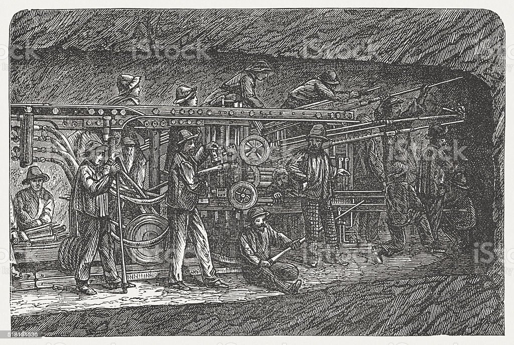 Construction of Fréjus Rail Tunnel, wood engraving, published in 1880 vector art illustration