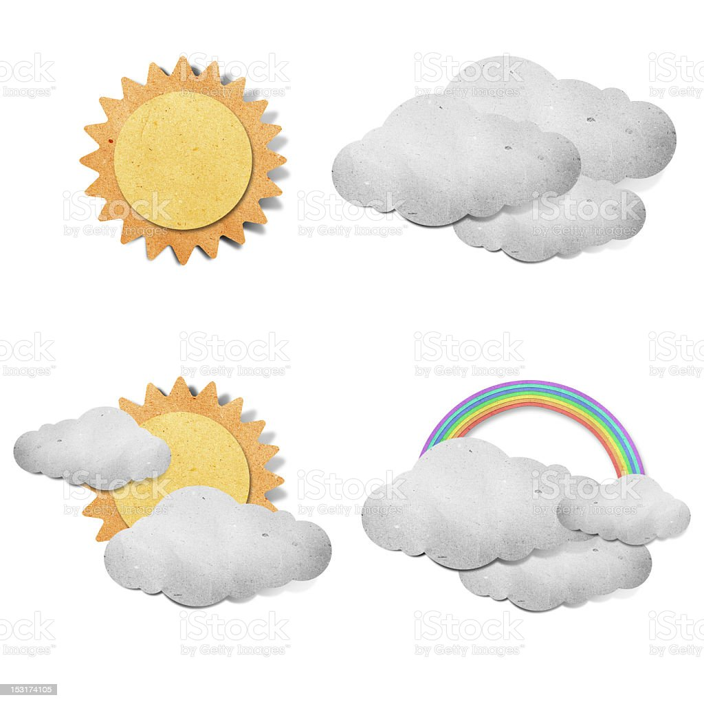 Construction paper cut outs of different weather royalty-free stock vector art