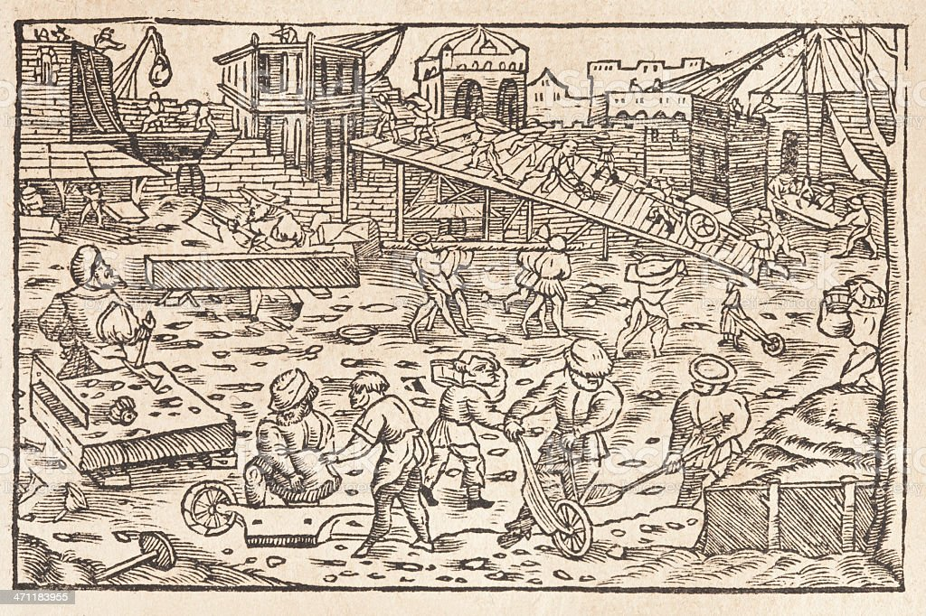 Construction site woodcut from 1586 vector art illustration