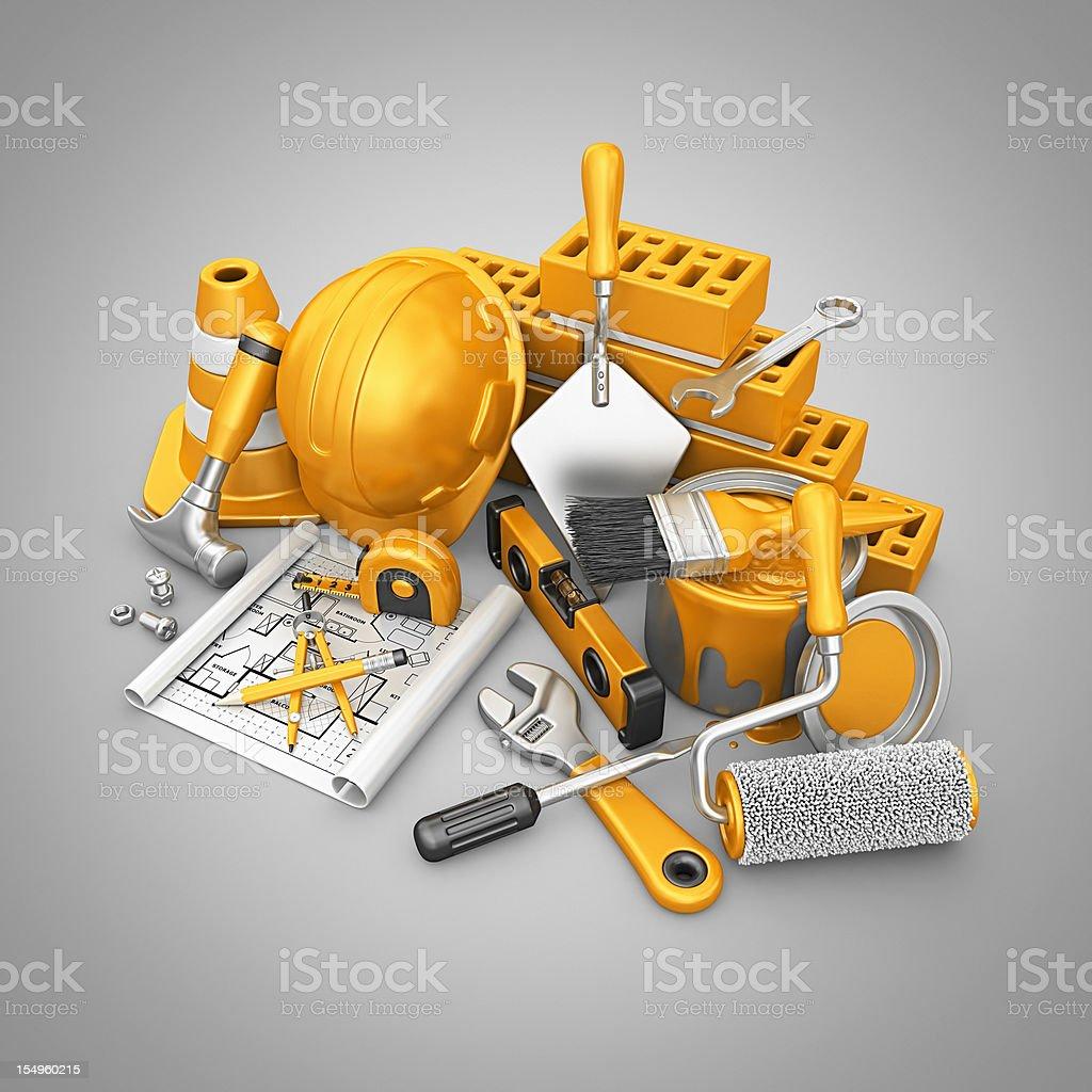 construction stuff vector art illustration