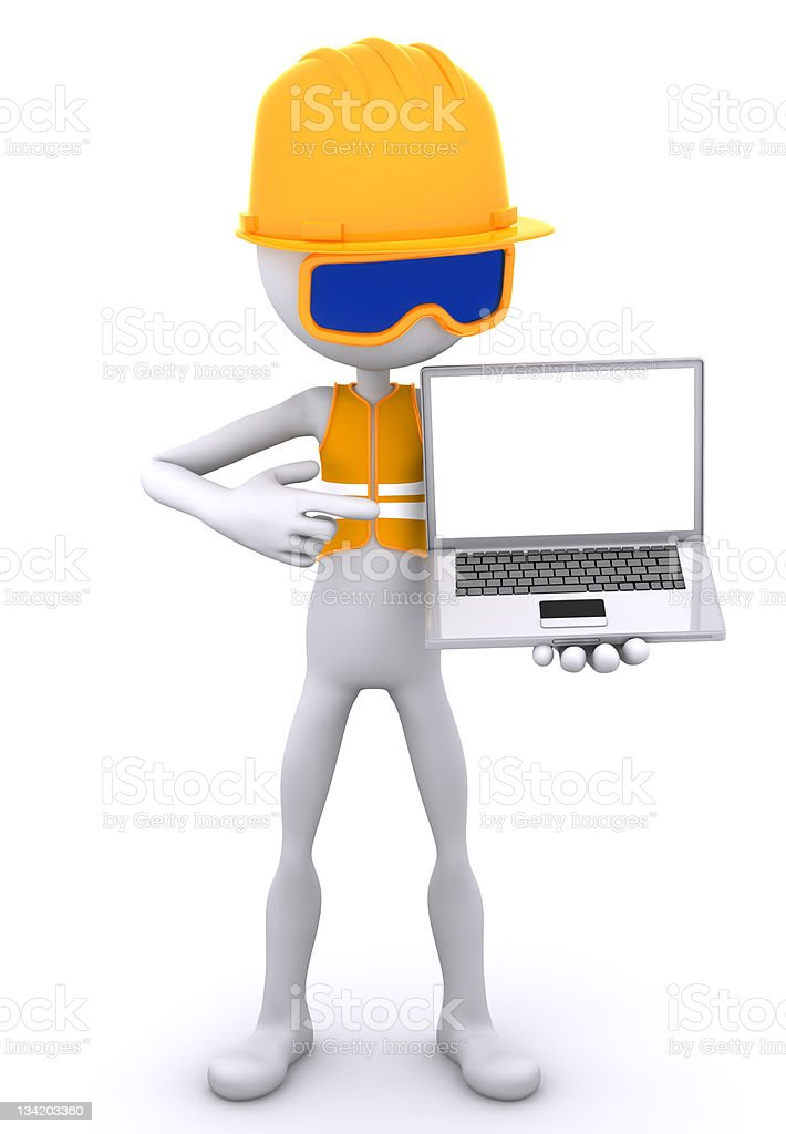 Construction worker showing laptop royalty-free stock vector art
