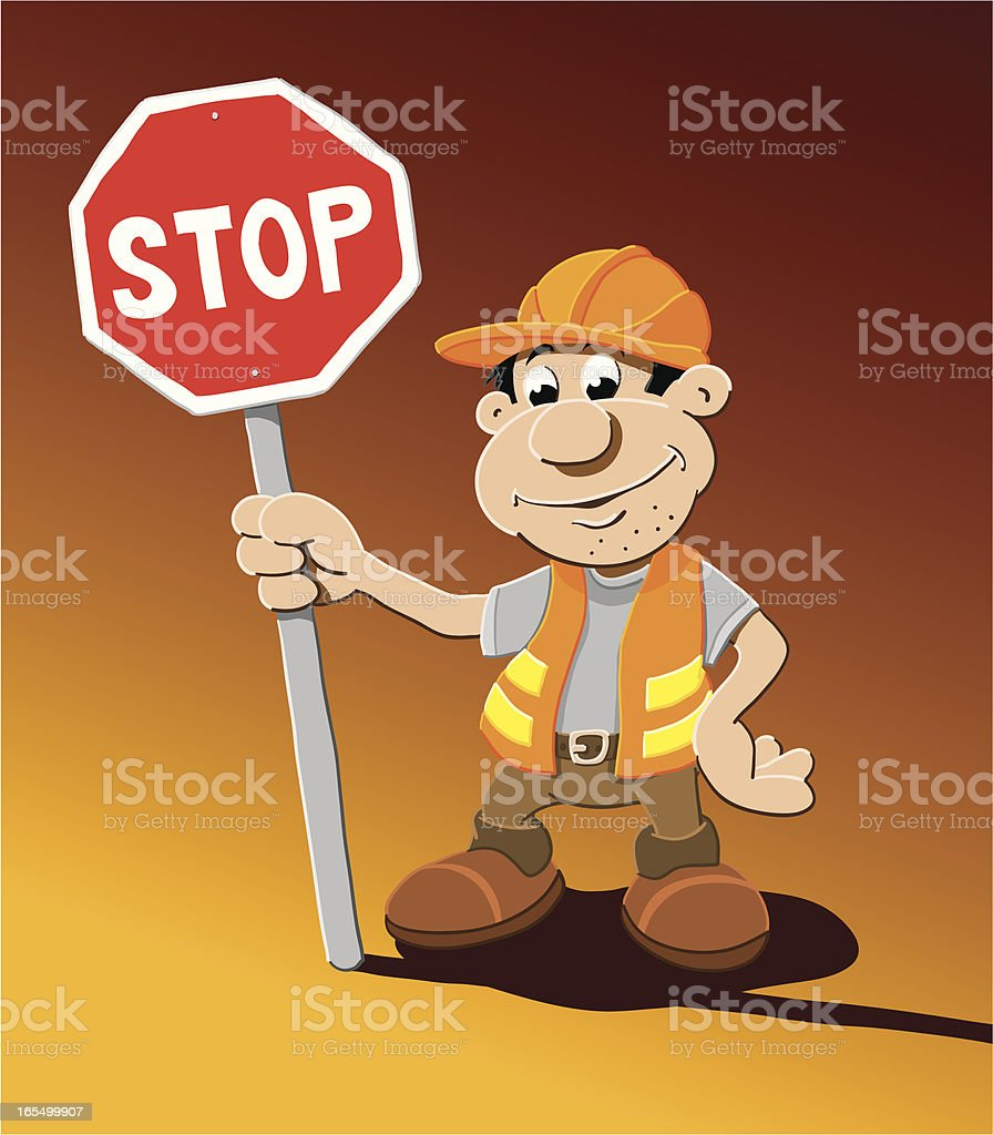 Construction Worker Stop Sign Cartoon Man royalty-free stock vector art