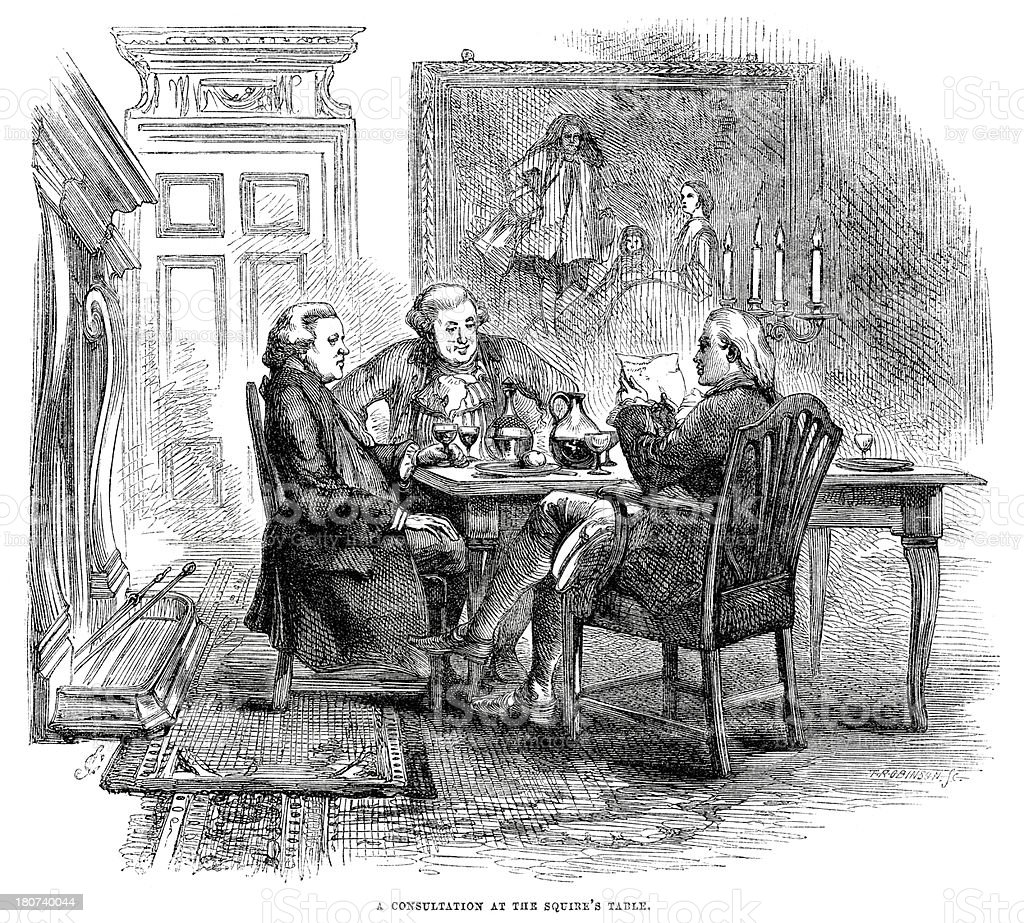 Consultation at the Squire's Table royalty-free stock vector art
