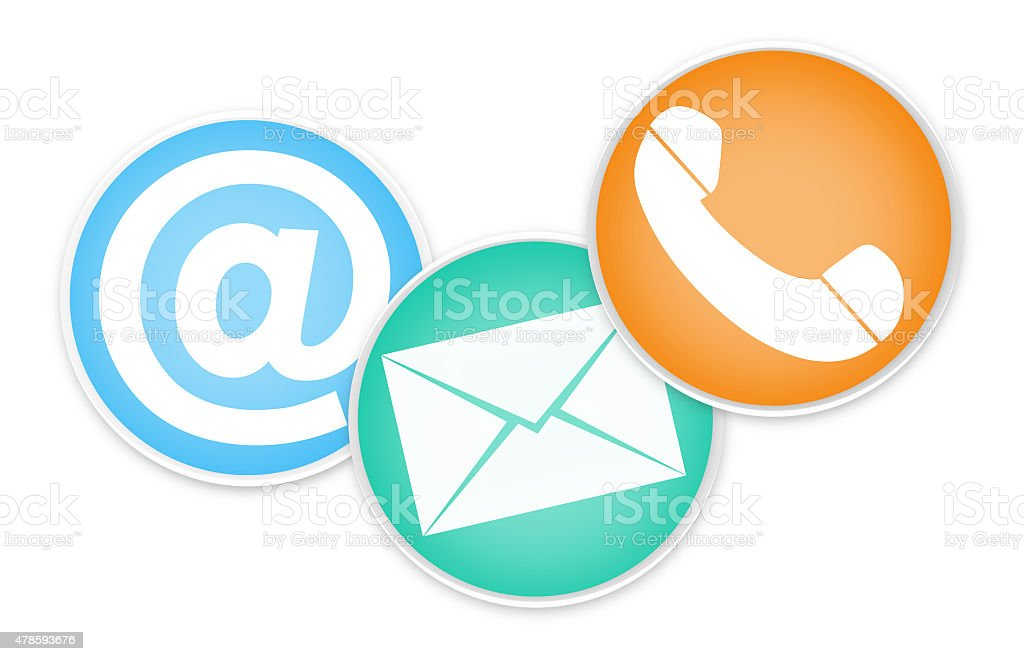 Contact Round Icons vector art illustration