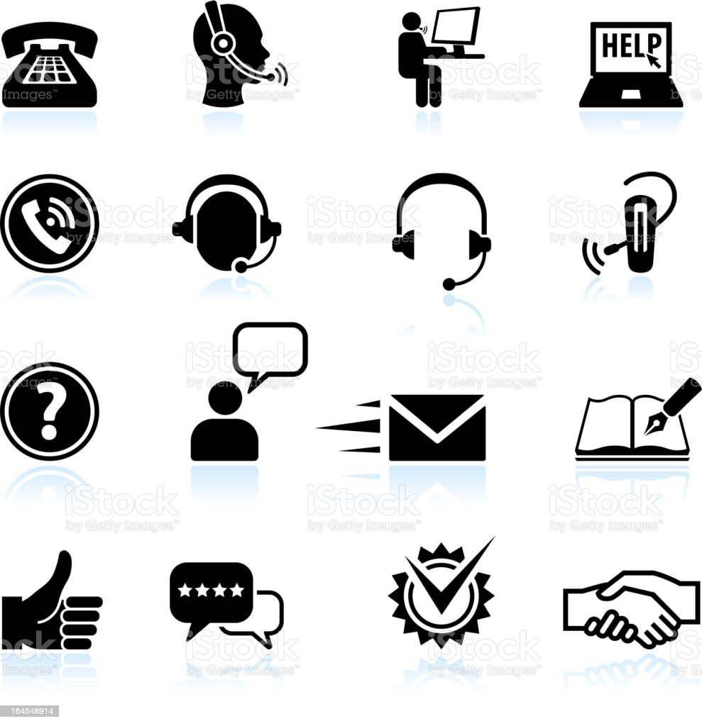 Contact us and Customer service black & white icon set vector art illustration