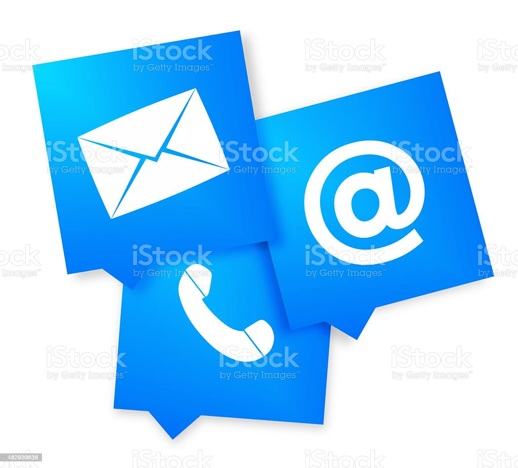 Contact Us Blue square vector art illustration