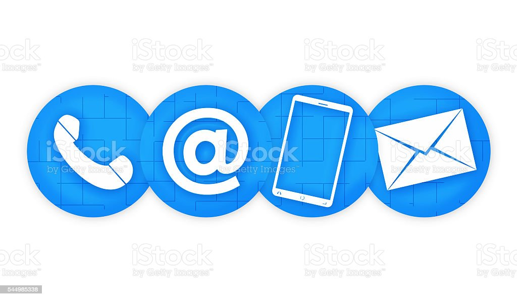 contact us colored blue design icons graphic vector art illustration