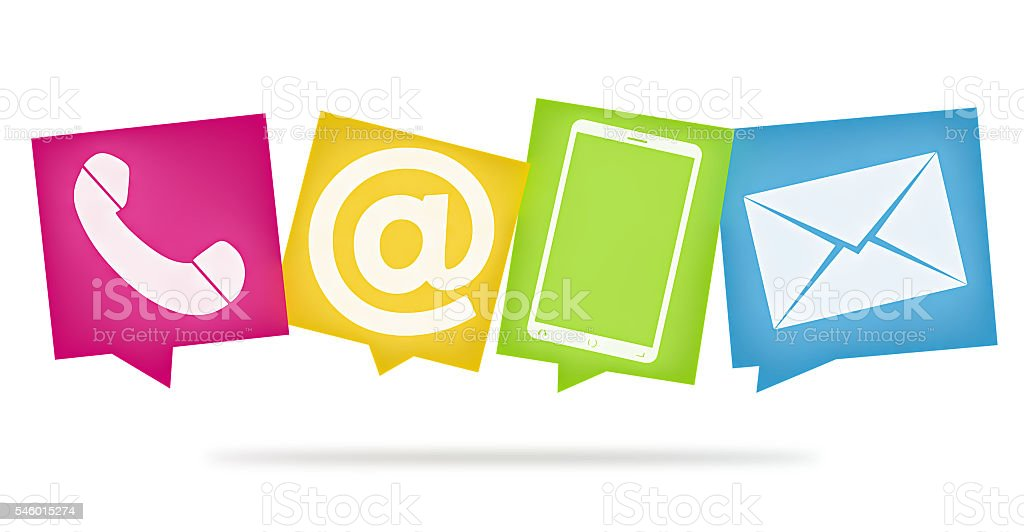 contact us colored fresh design icons 3d render graphic vector art illustration