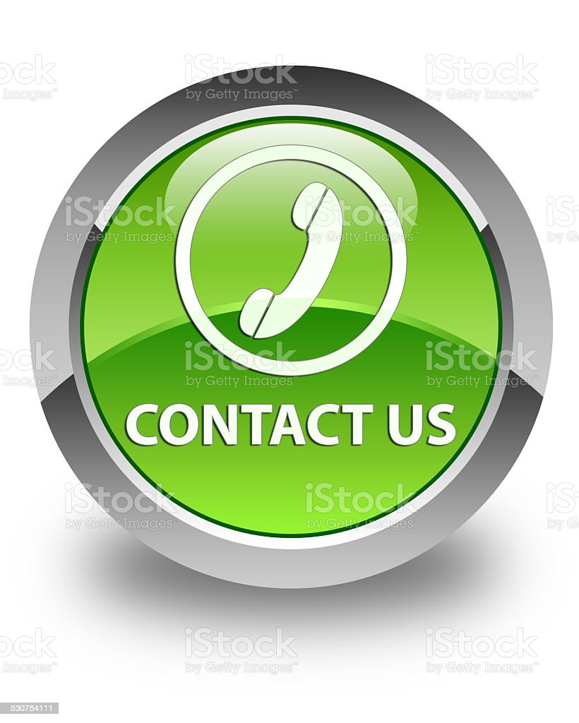Contact us (phone icon) glossy green round button vector art illustration