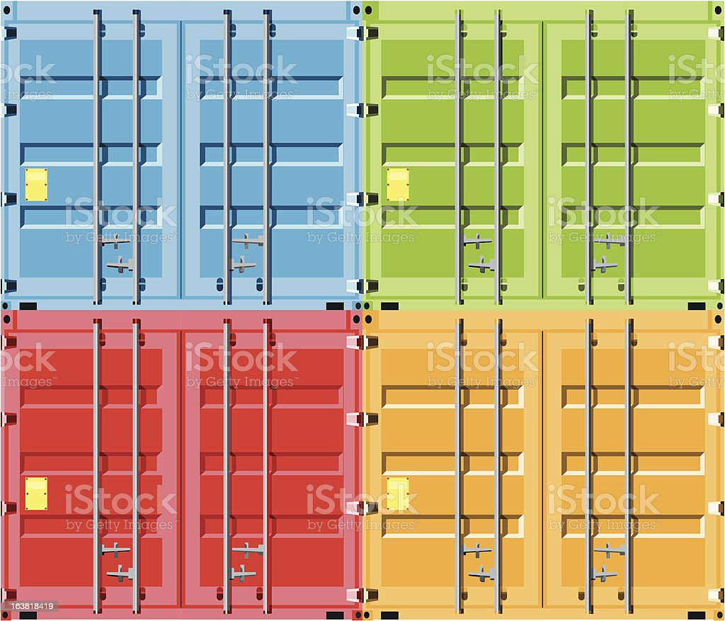 container doors in primary colours royalty-free stock vector art