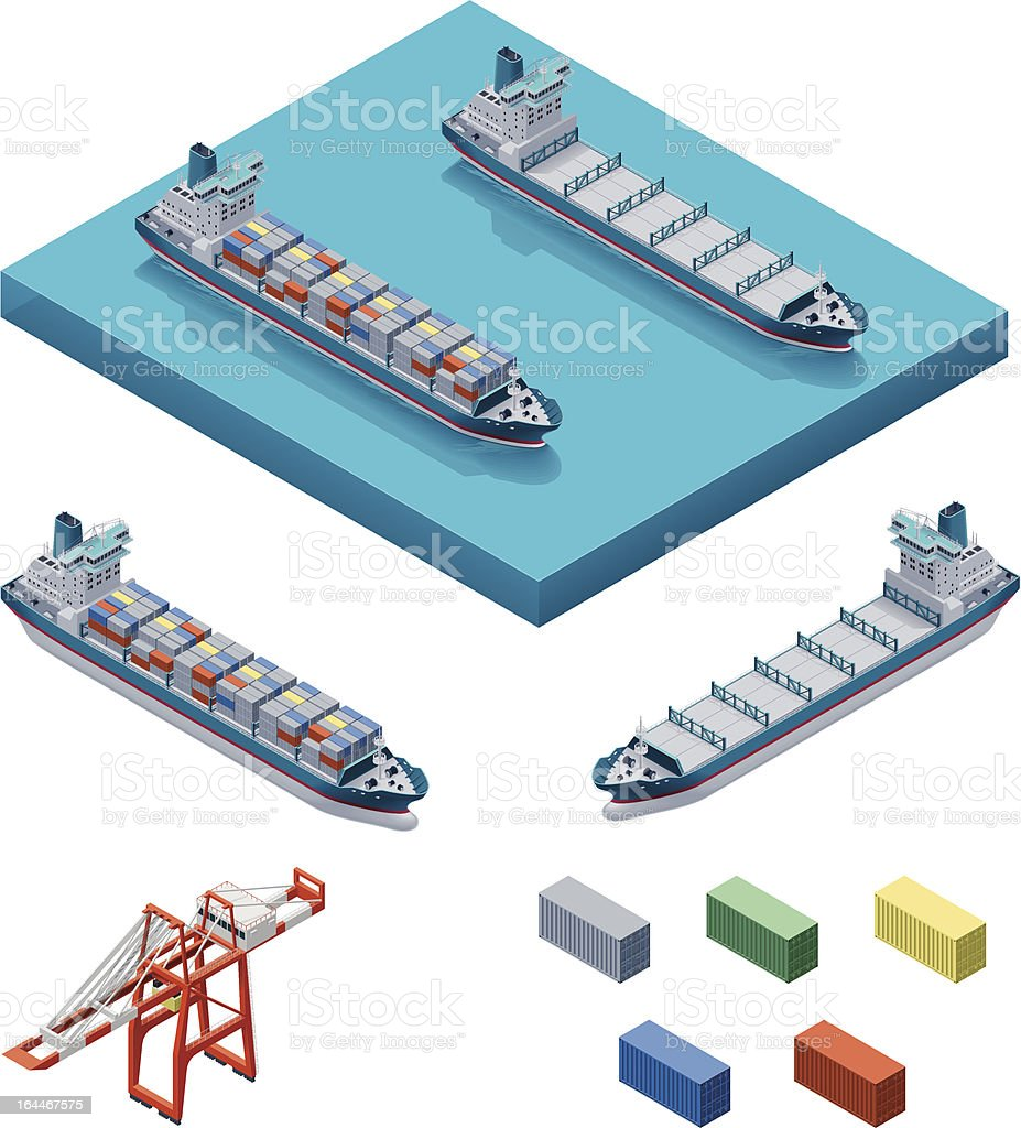 Container ship with crane vector art illustration
