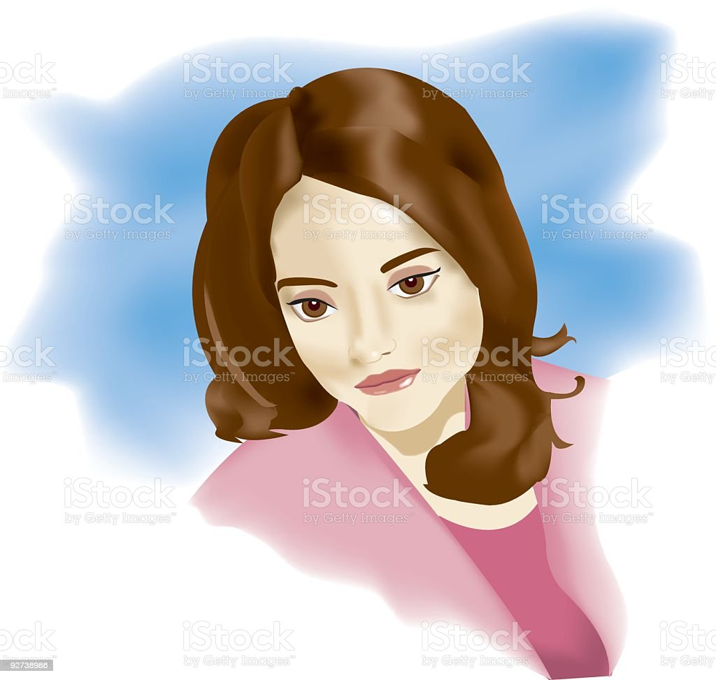 Contemplative Smile (VECTOR) royalty-free stock vector art