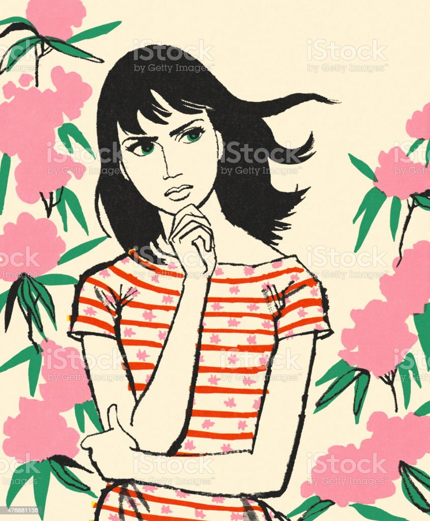 Contemplative Woman vector art illustration