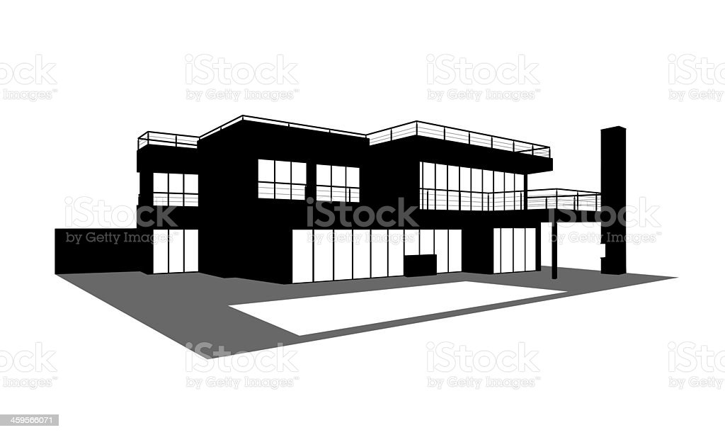 contemporary house with a swimming pool silhouette vector art illustration