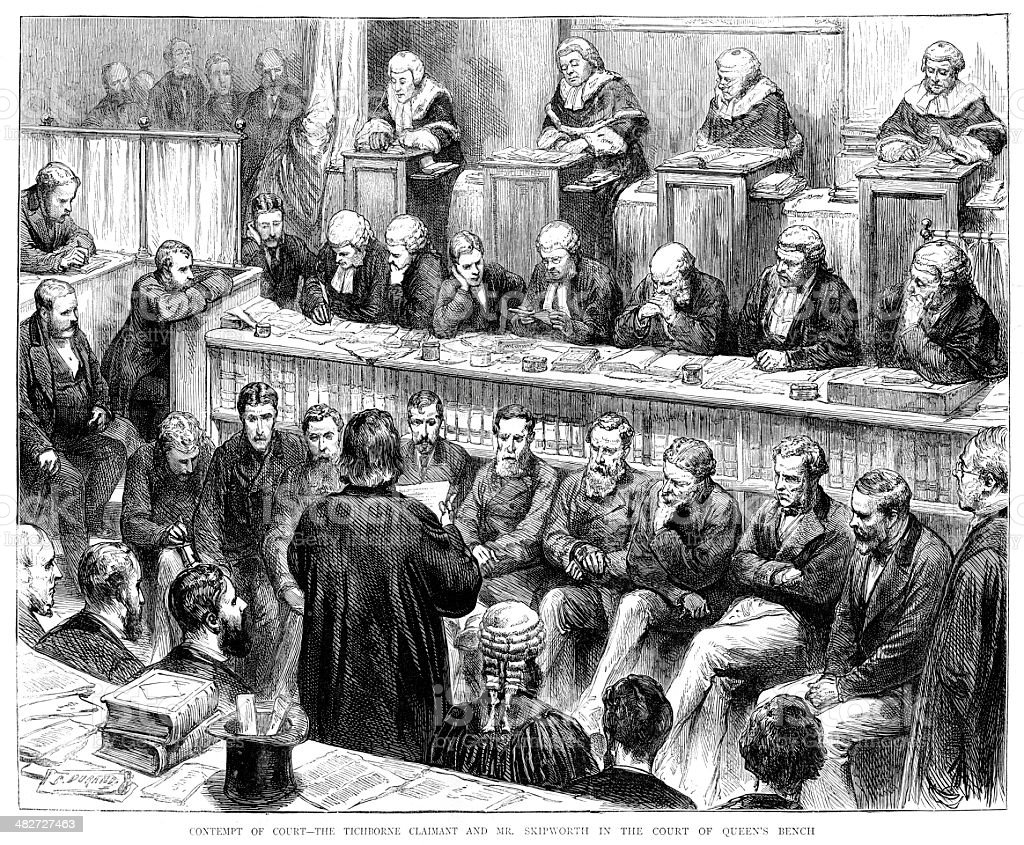 Contempt of Court - The Tichborne case vector art illustration
