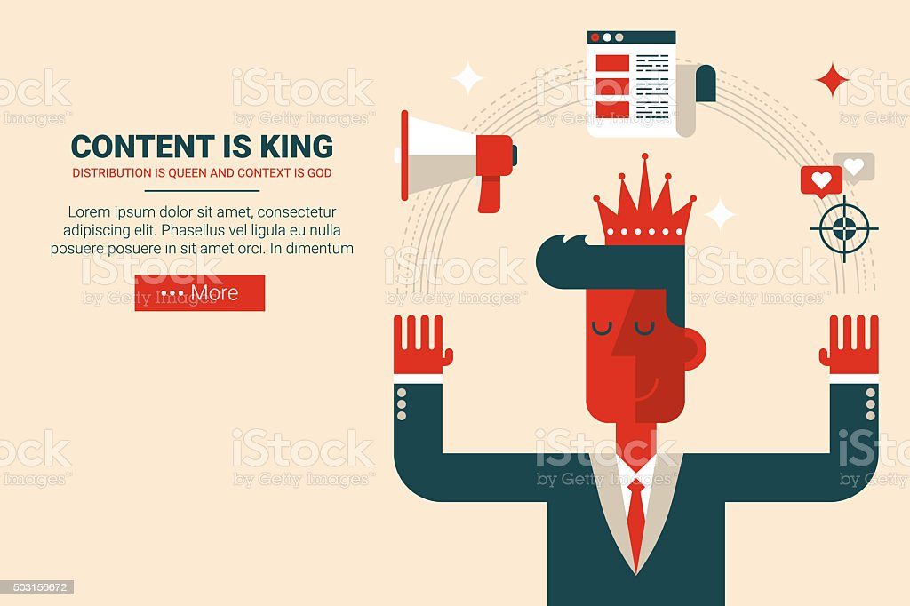 Content is king concept vector art illustration