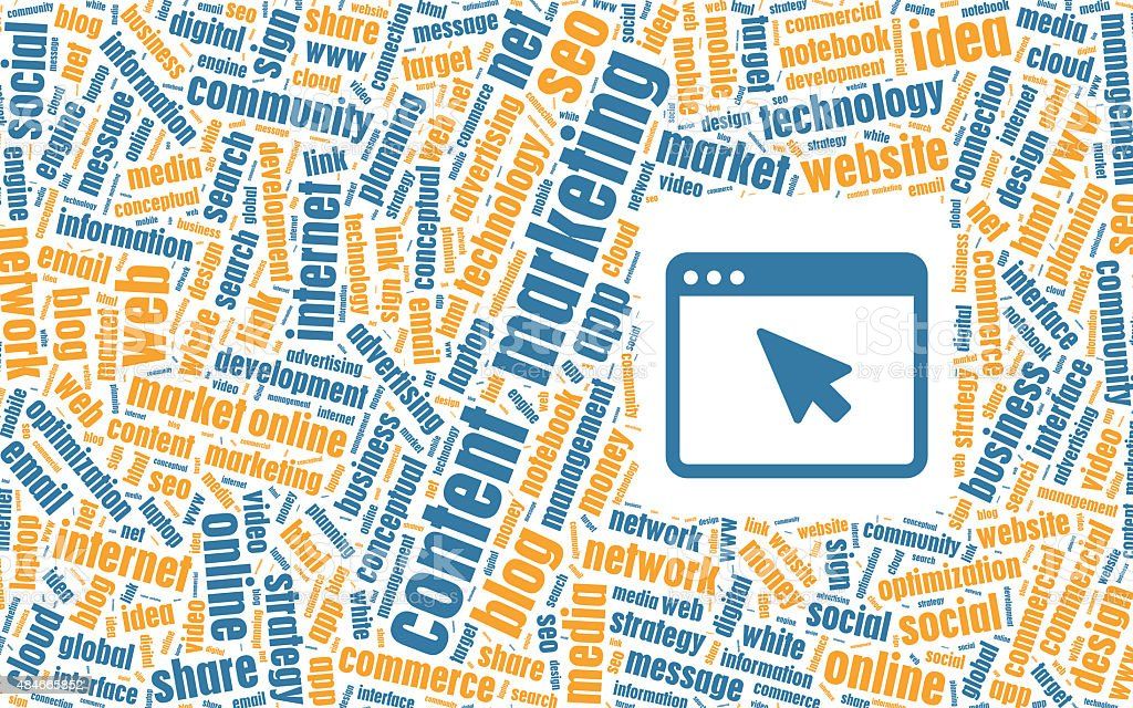 Content Marketing Concept in Tag Cloud vector art illustration