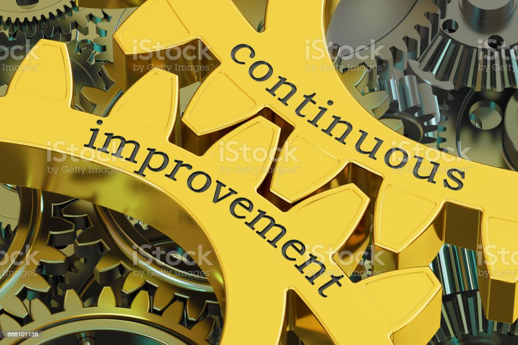 continuous improvement concept on the gears, 3D rendering stock photo